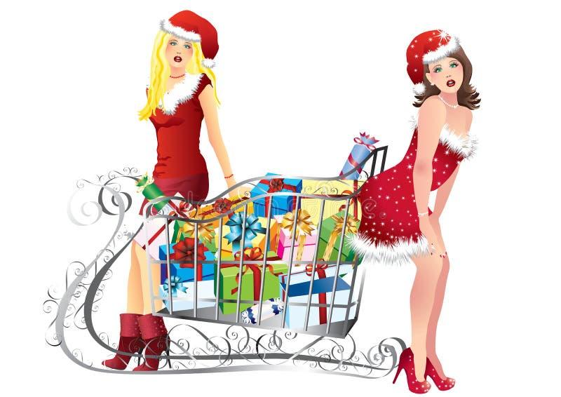 Mädchen mit dem Einkaufen vektor abbildung