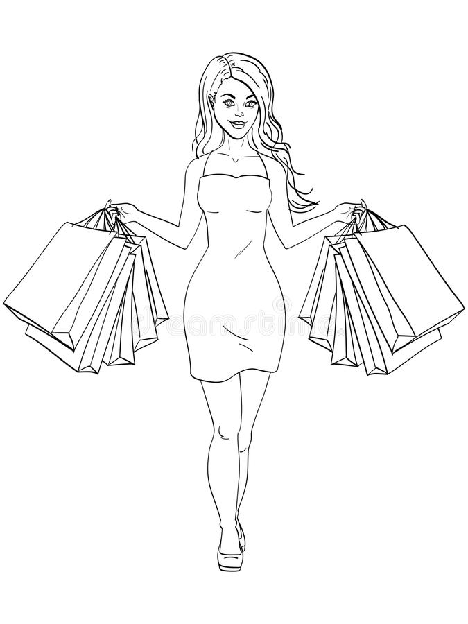 Mädchen mit dem Einkaufen Ich kaufte viel Kleidung Geschenk sackt Mode ein Gegenstandmalbuch-Vektorillustration lizenzfreie abbildung