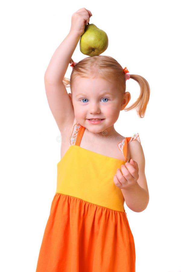 Mädchen mit dem friit getrennt auf Weiß stockbilder