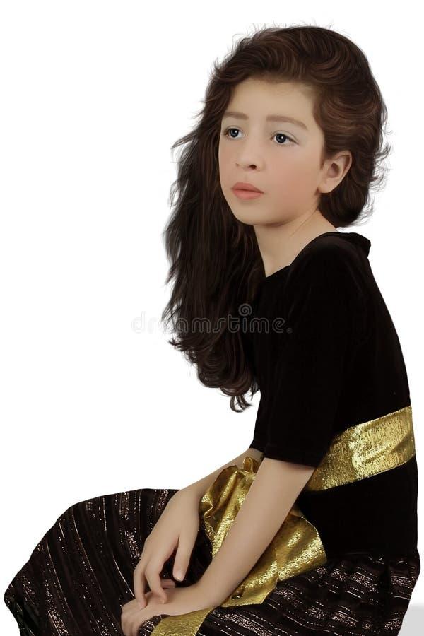 Mädchen mit dem langen, gelockten Haar stockbilder