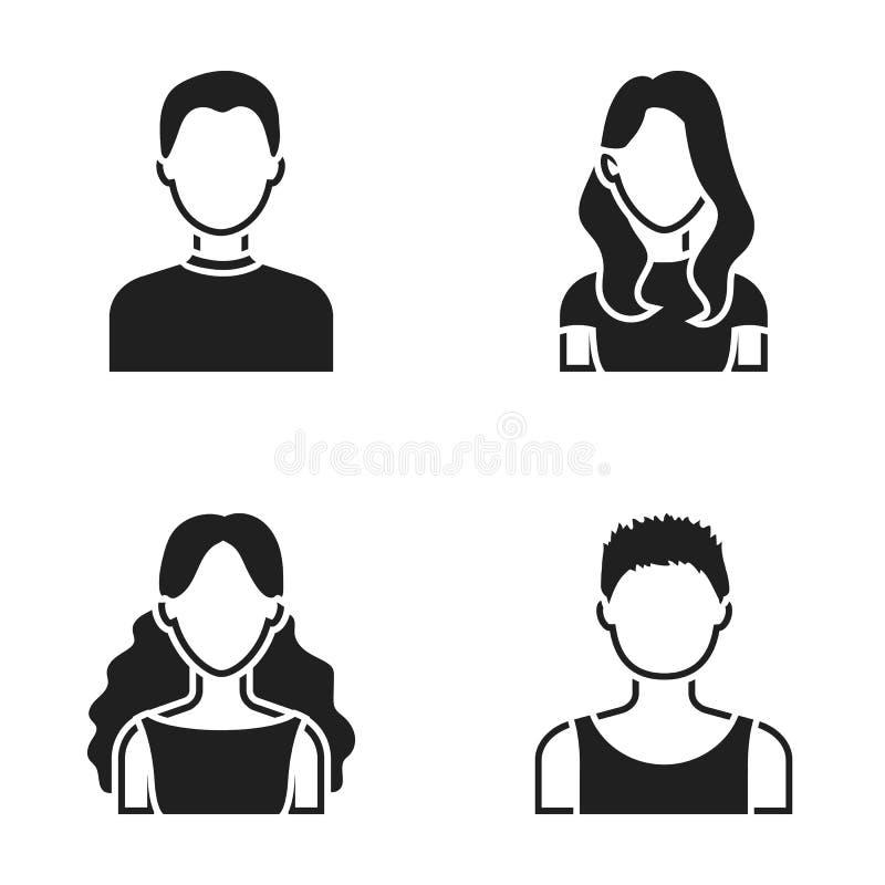 Mädchen mit dem langen Haar, blonder, gelockter, grauhaariger Mann Vector gesetzte Sammlungsikonen des Avataras in der schwarzen  lizenzfreie abbildung