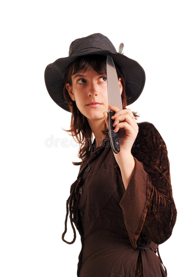 Mädchen mit dem Messer lizenzfreies stockfoto