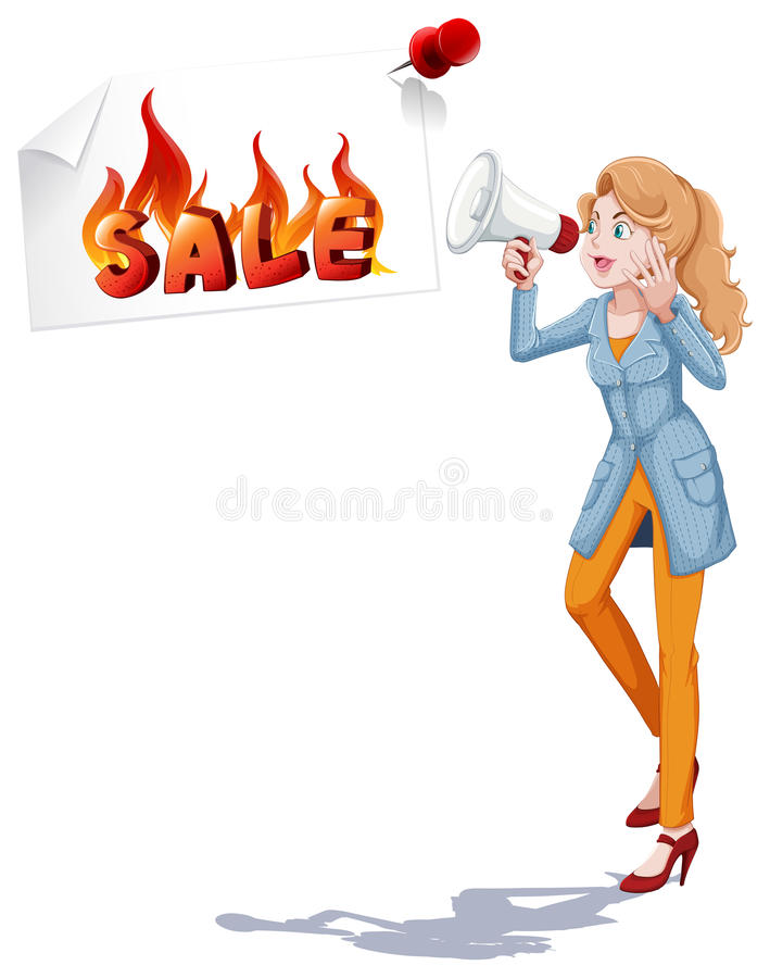 Mädchen mit dem Sprecher, der Verkauf ankündigt stock abbildung