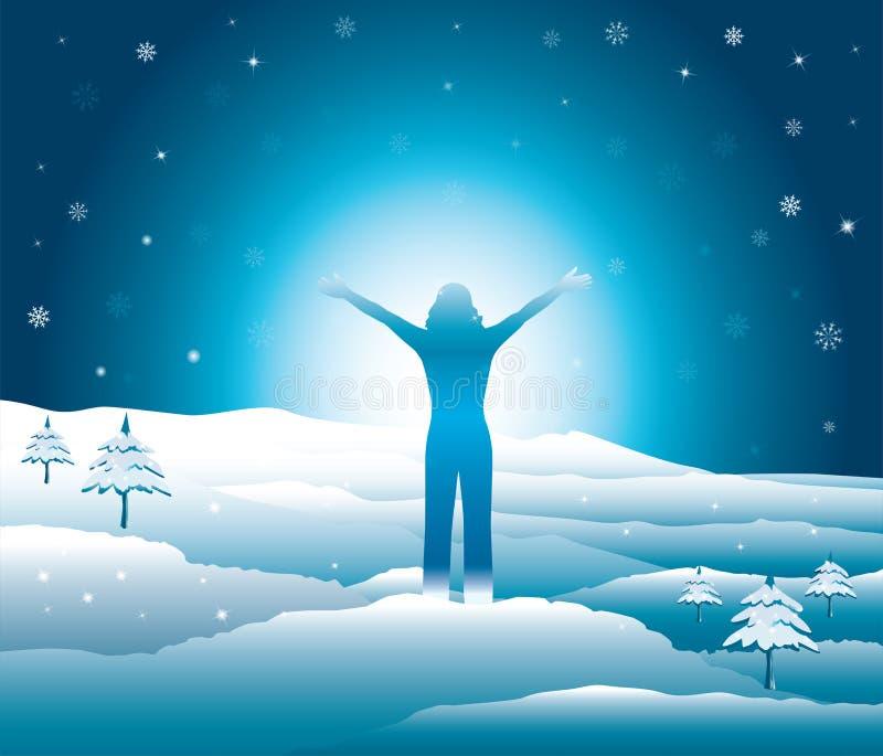 Mädchen mit den Händen herauf das Springen und Haben des Spaßes auf die Oberseite des Berges im Schnee lizenzfreie abbildung
