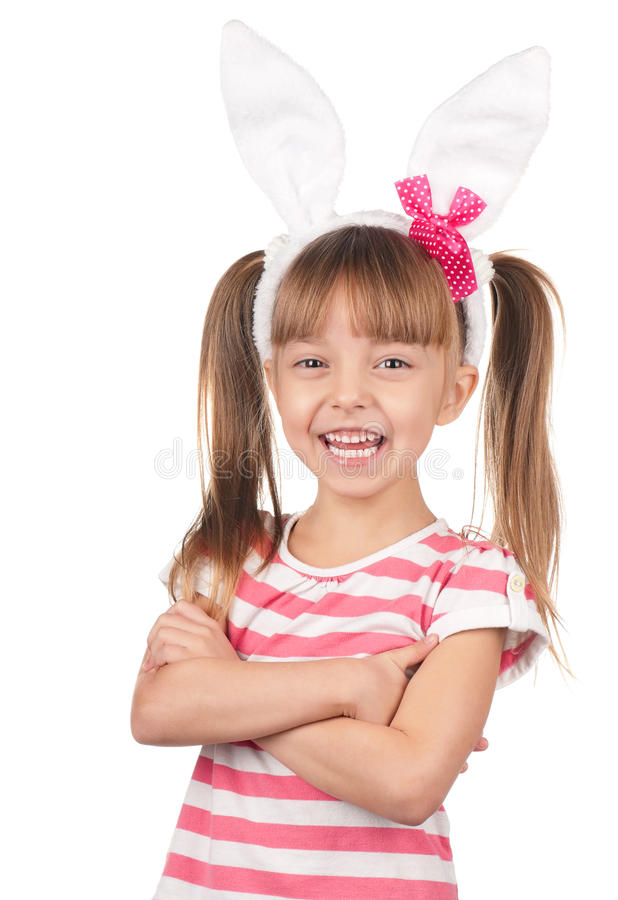 Mädchen mit den Häschenohren stockbild