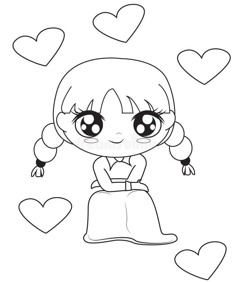 Mädchen mit den Herzen, die Seite färben vektor abbildung