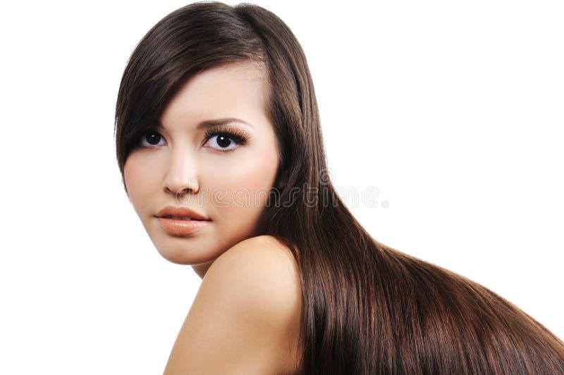 Download Mädchen Mit Den Langen Braunen Haaren Stockfoto - Bild von make, kaukasisch: 9095502