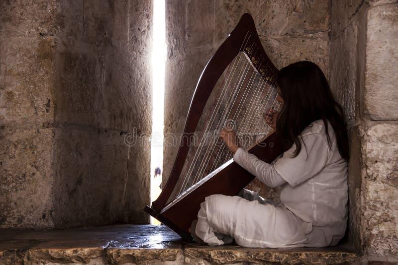 Mädchen mit der Harfe lizenzfreie stockfotos