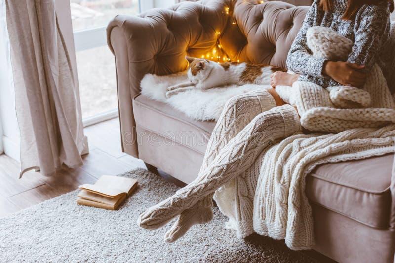 Mädchen mit der Katze, die auf einem Sofa sich entspannt stockbild