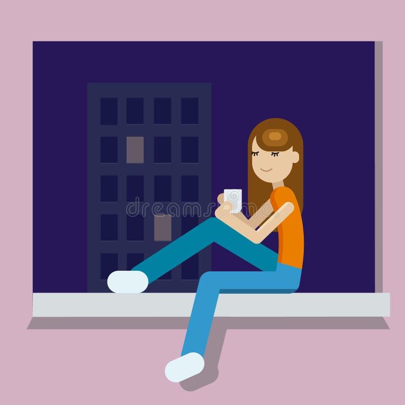 Mädchen mit der Tasse Tee am Abend nach Arbeitstag Mädchen, das den Tee sitzt auf windowstill, te betrachtend trinkt vektor abbildung
