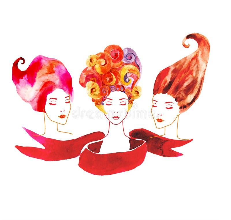 Mädchen mit drei Aquarellen stock abbildung