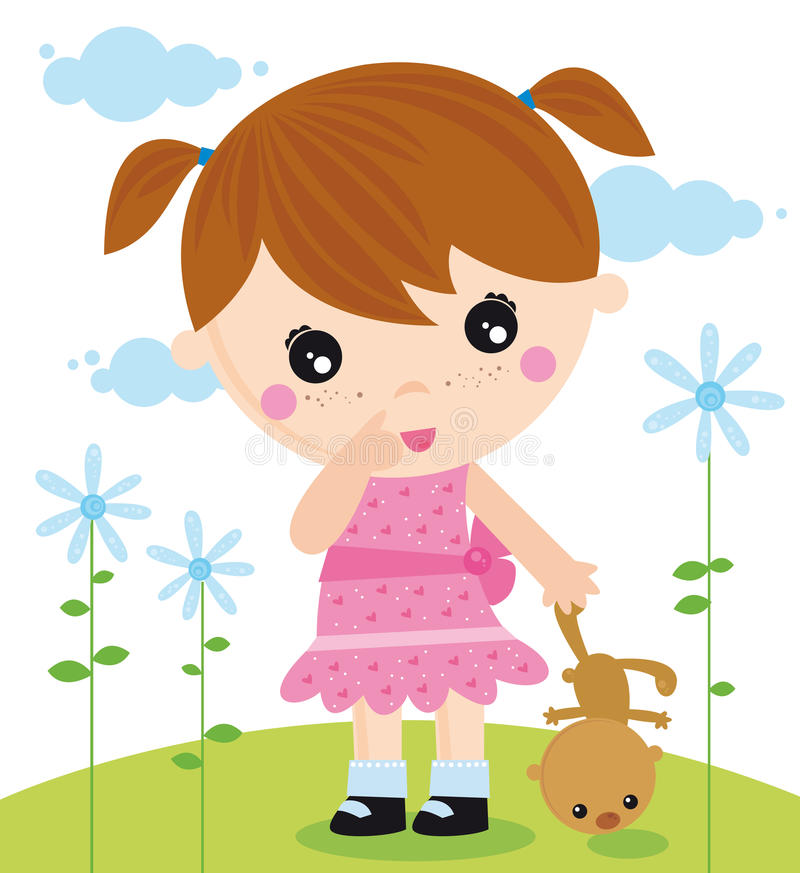Mädchen mit einem Bären lizenzfreie abbildung