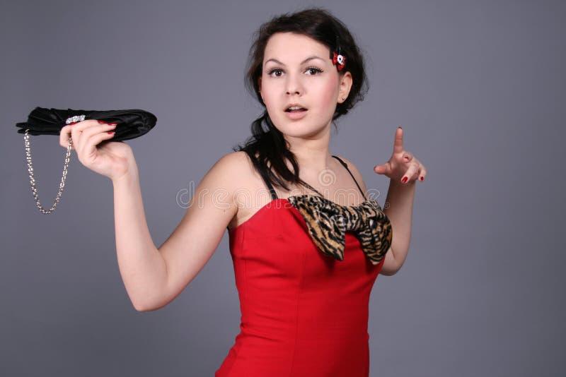 Mädchen mit einem Beutel stockfotografie