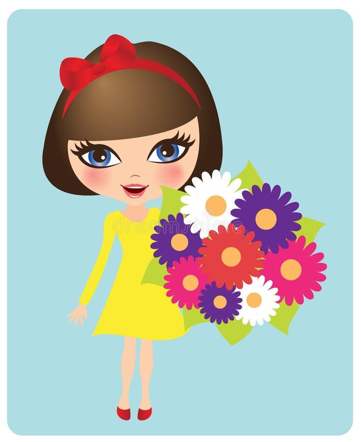 Mädchen mit einem Blumenstrauß lizenzfreie abbildung