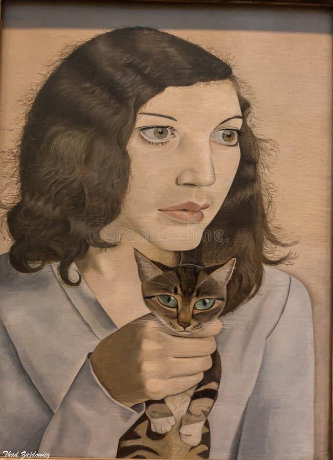 Mädchen mit einem Kätzchen lizenzfreies stockfoto