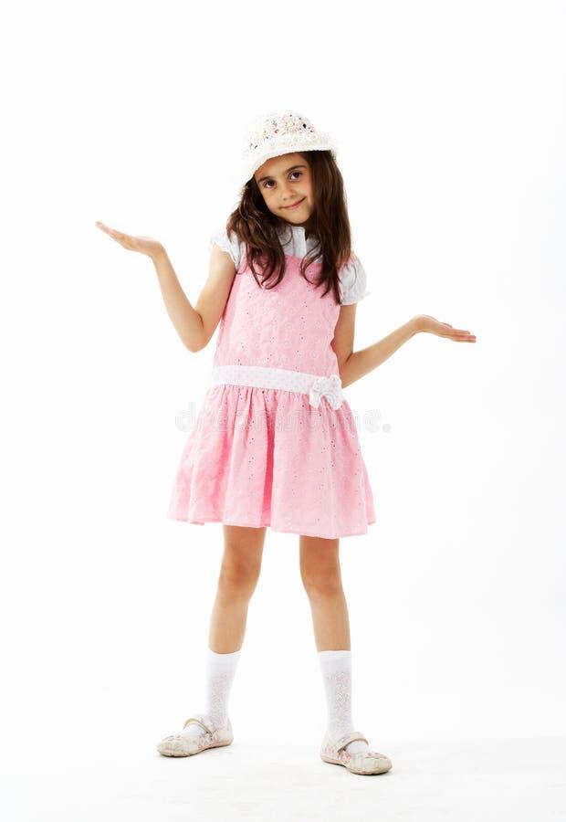 Mädchen mit einem kurzen Kleid und einem Hut stockbild