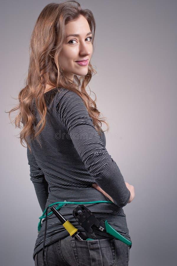 Mädchen mit einem Netzseilzug stockfoto