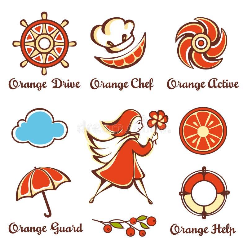 Mädchen mit einem orange Regenschirm lizenzfreie abbildung