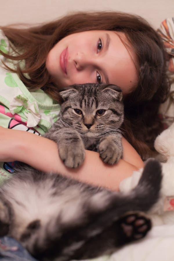 Download Mädchen mit einer Katze stockbild. Bild von fuß, einflüsse - 26371177