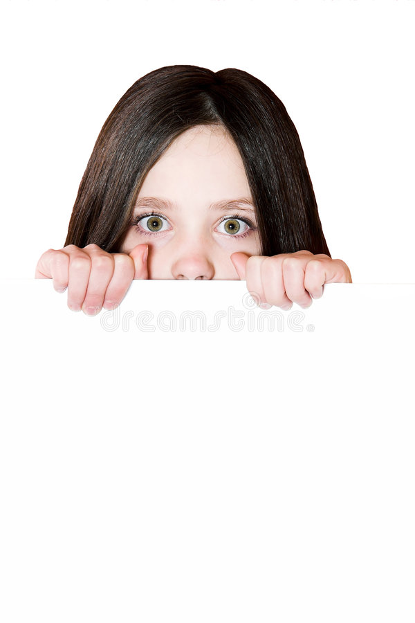 Mädchen mit einer weißen Karte stockfoto