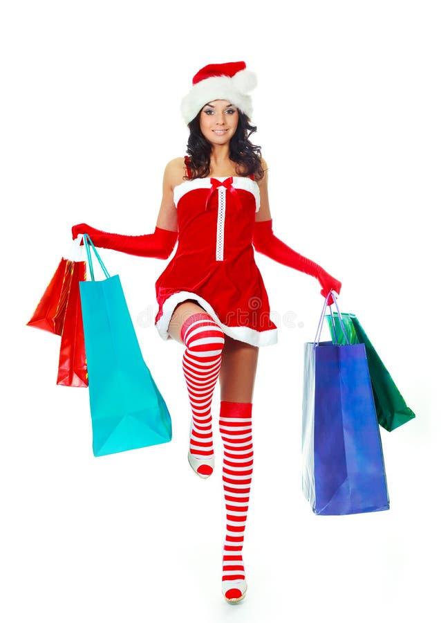 Mädchen mit Einkaufenbeuteln stockfotografie