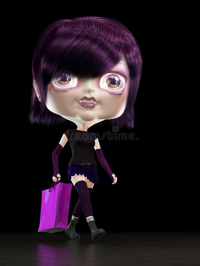 Mädchen mit Einkaufstasche. stock abbildung