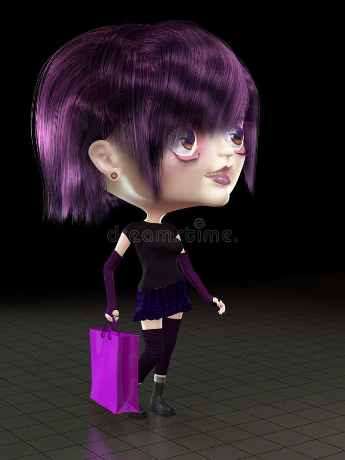 Mädchen mit Einkaufstasche. vektor abbildung