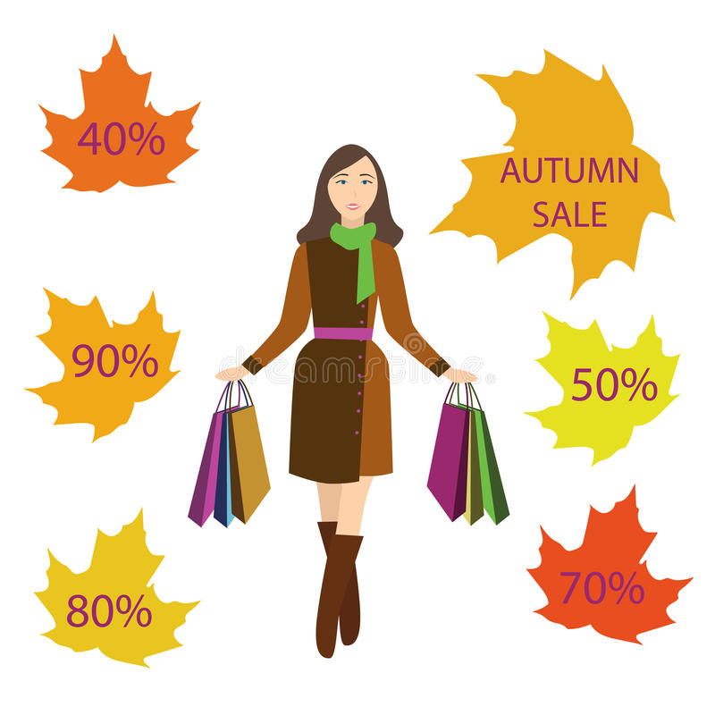 Mädchen mit Einkaufstaschen, Herbstverkauf stockfotos