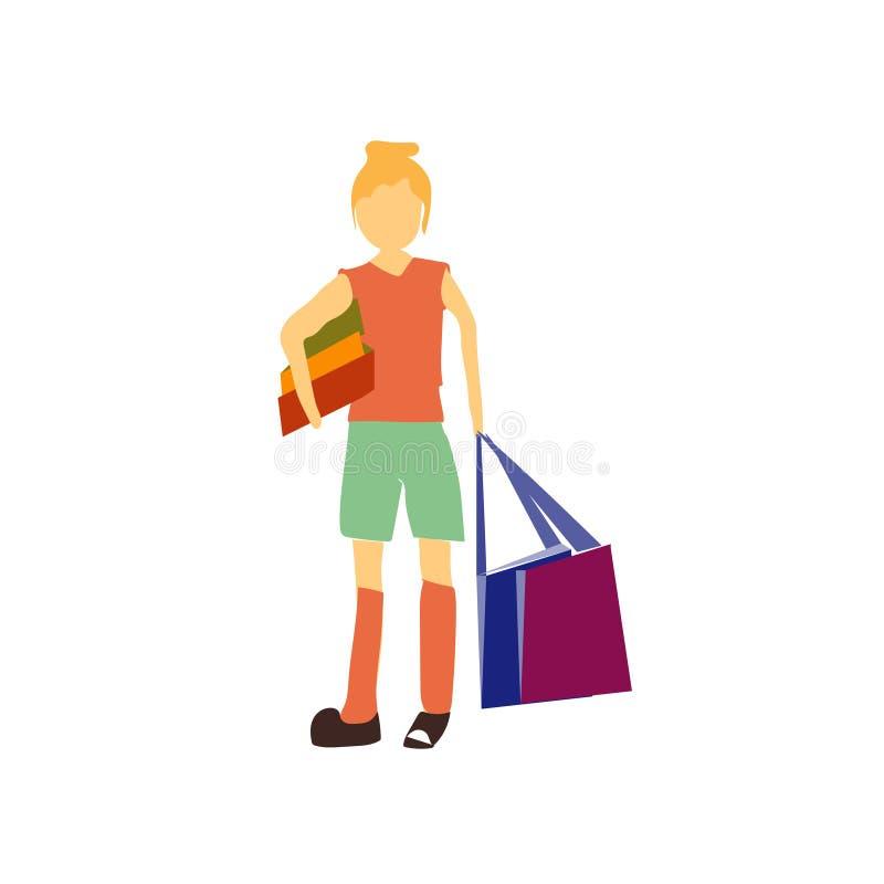 Mädchen mit Einkaufstaschevektorvektorzeichen und -symbol lokalisiert auf weißem Hintergrund, Mädchen mit Einkaufstaschevektor-Lo lizenzfreie abbildung
