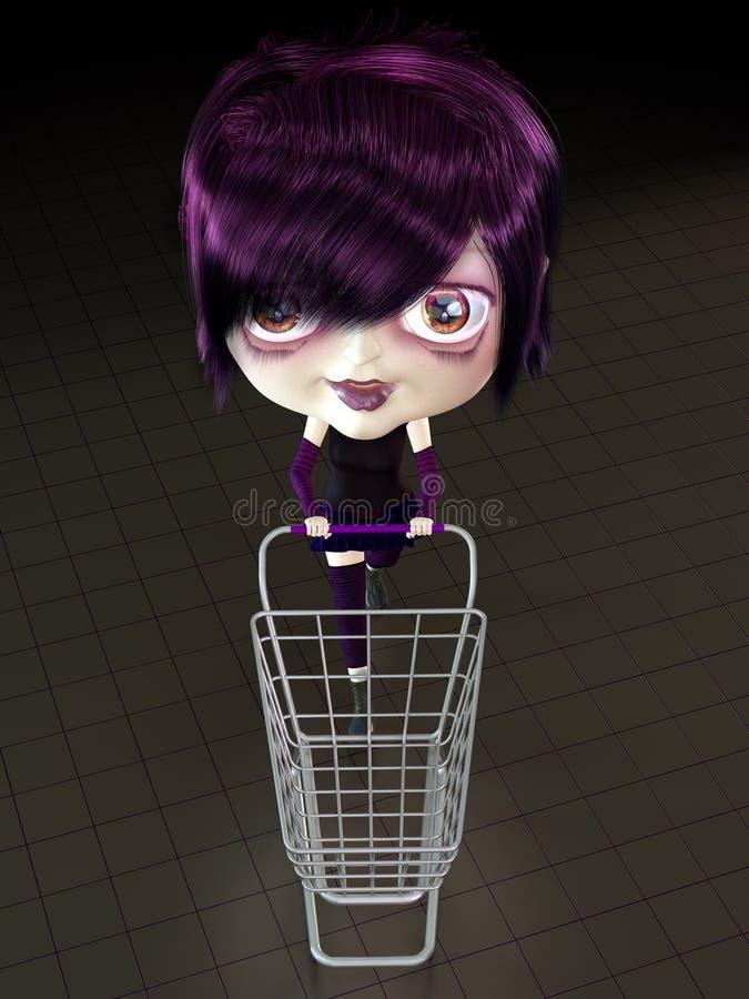 Mädchen mit Einkaufswagen. vektor abbildung
