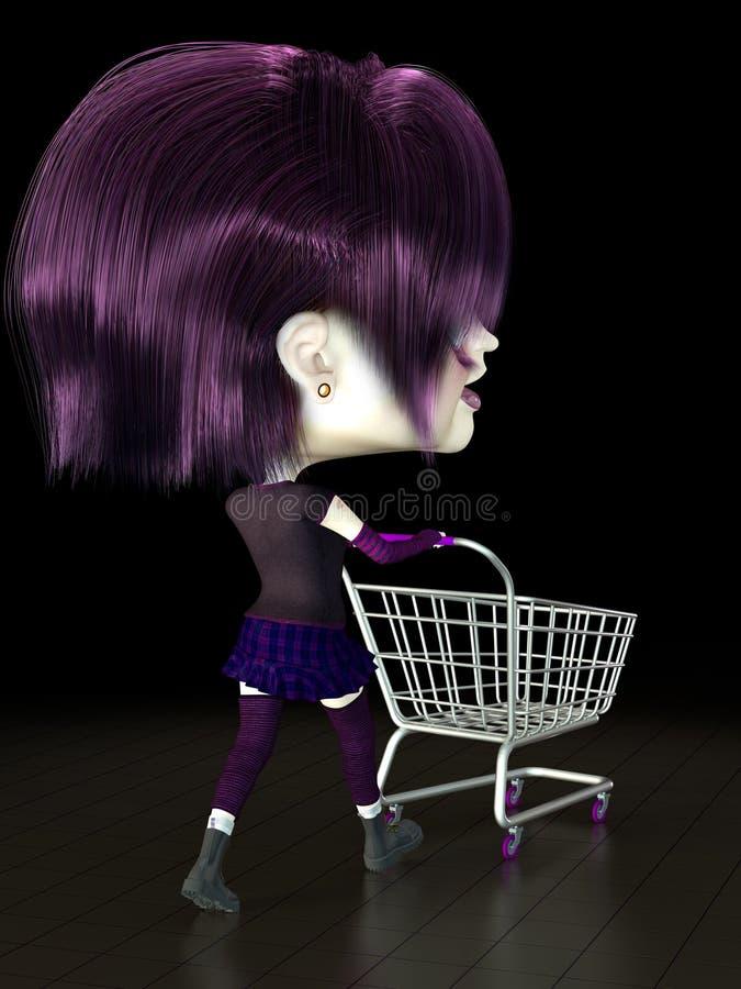 Mädchen mit Einkaufswagen. lizenzfreie abbildung