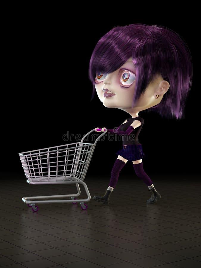 Mädchen mit Einkaufswagen. stock abbildung