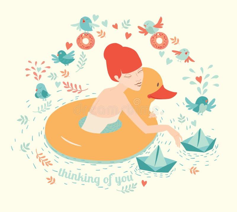 Mädchen mit Ente, dem Rettungsringschwimmen und den Papierbooten auf Wasser mit Vögeln vektor abbildung