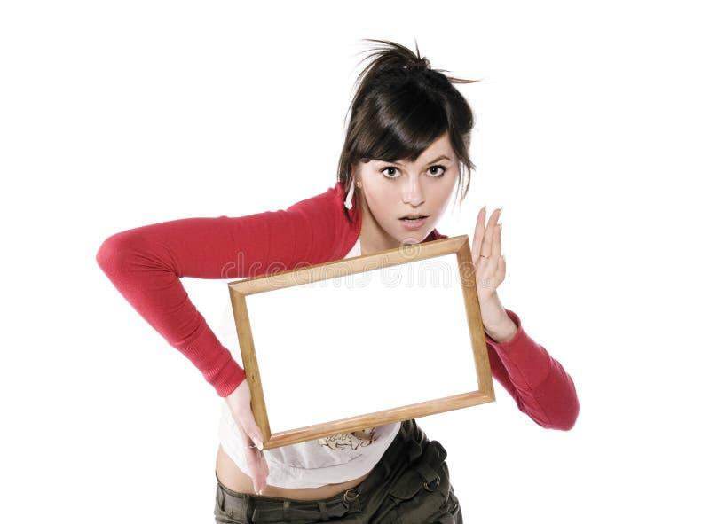 Mädchen mit Feld lizenzfreies stockfoto