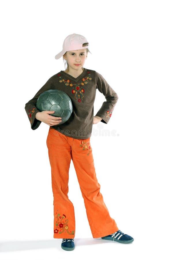 Mädchen mit Fußballkugel lizenzfreies stockbild