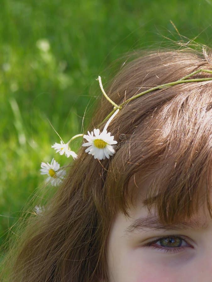 Mädchen mit Gänseblümchenblumen lizenzfreie stockfotos