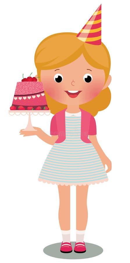 Mädchen mit Geburtstag-Kuchen lizenzfreie abbildung