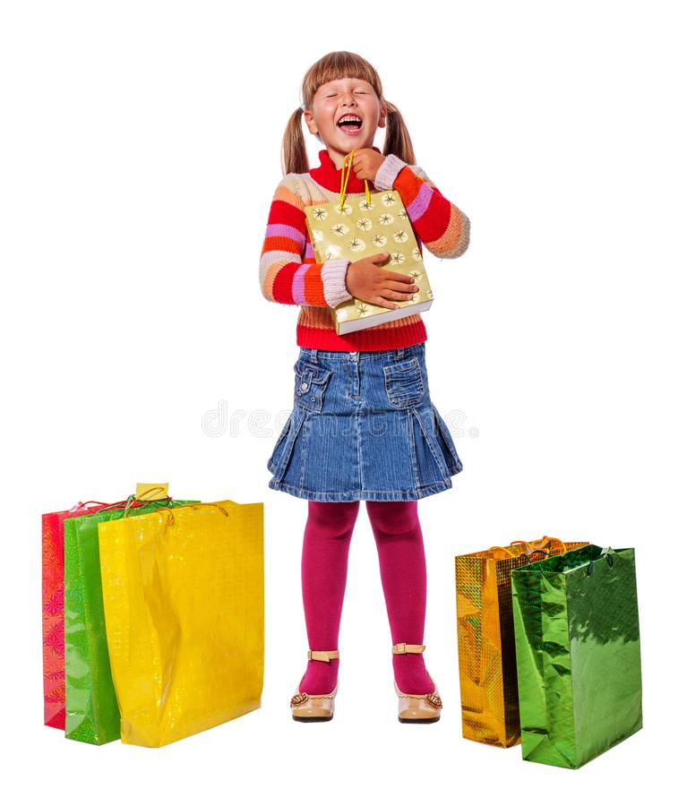 Mädchen mit Geschenken stockfotografie