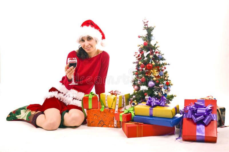 Mädchen mit Geschenken lizenzfreies stockfoto