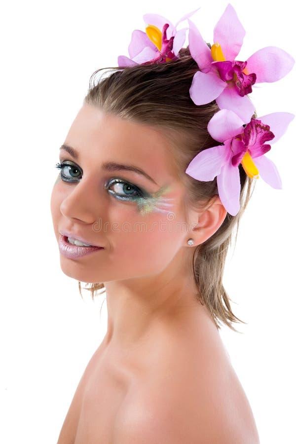 Mädchen mit Gesichtkunst Basisrecheneinheitslack stockfotografie