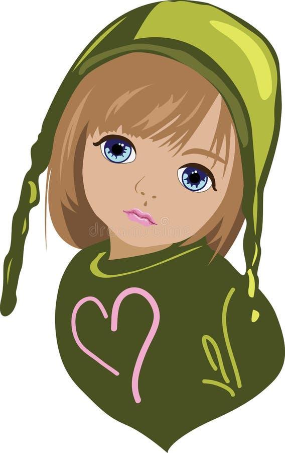 Mädchen mit grünem Hut vektor abbildung
