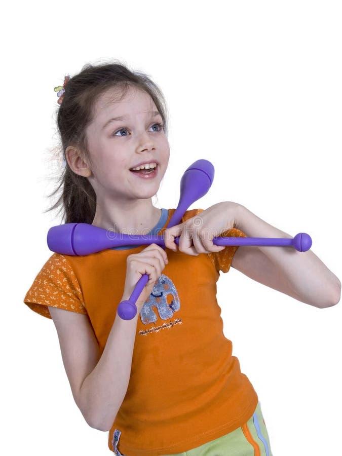 Mädchen mit gymnastischen Klumpen lizenzfreies stockfoto