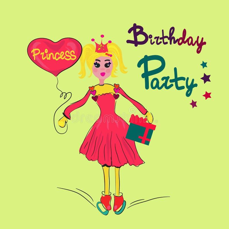 Mädchen mit Herzen und Geschenk in der Eisbahn Geburtstags-Prinzessin Auch im corel abgehobenen Betrag stock abbildung