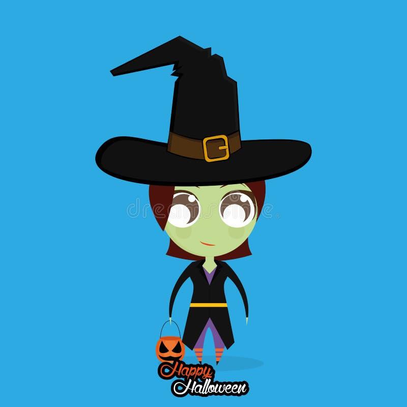 Mädchen mit Hexen-Halloween-Kostüm lokalisiert stock abbildung