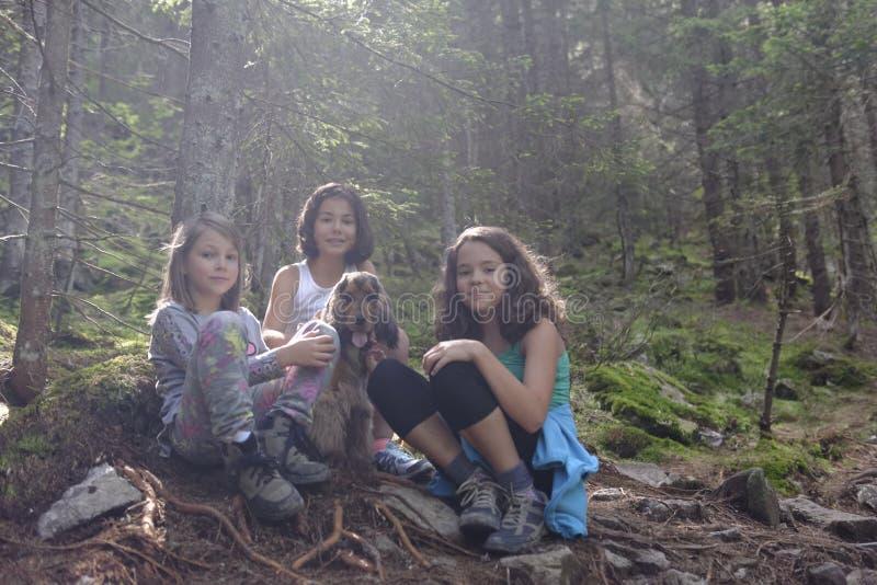 Mädchen mit Hund im Holz lizenzfreies stockbild