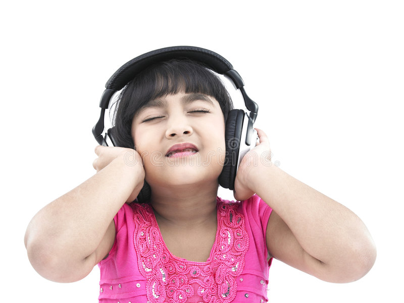 Mädchen mit ihren Kopfhörern stockfotos
