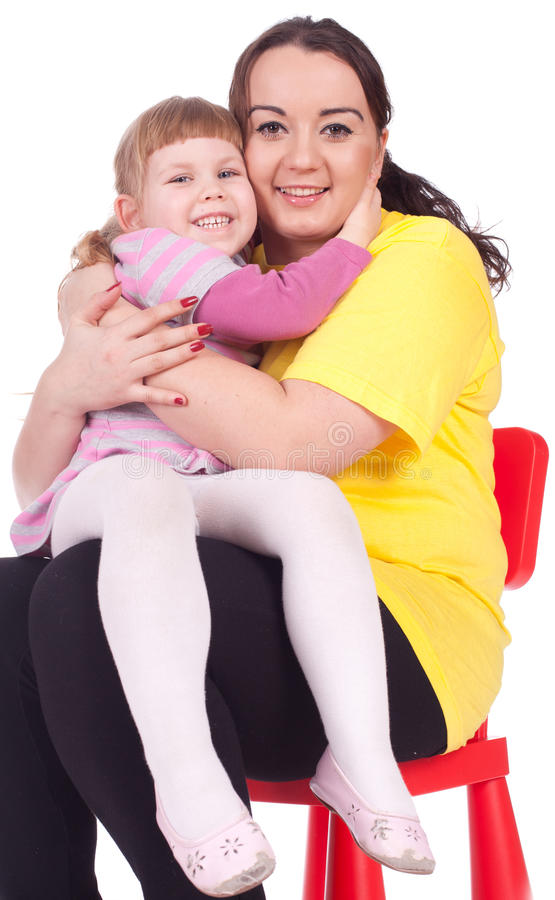Mädchen mit ihrer fetten Mutter stockbild