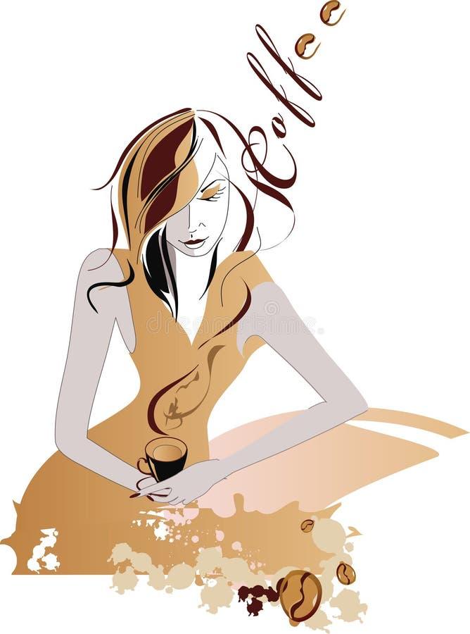 Mädchen mit Kaffee lizenzfreie abbildung