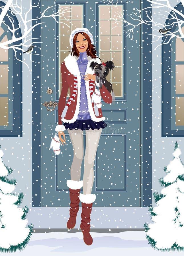 Mädchen mit kleinem Hund lizenzfreie abbildung