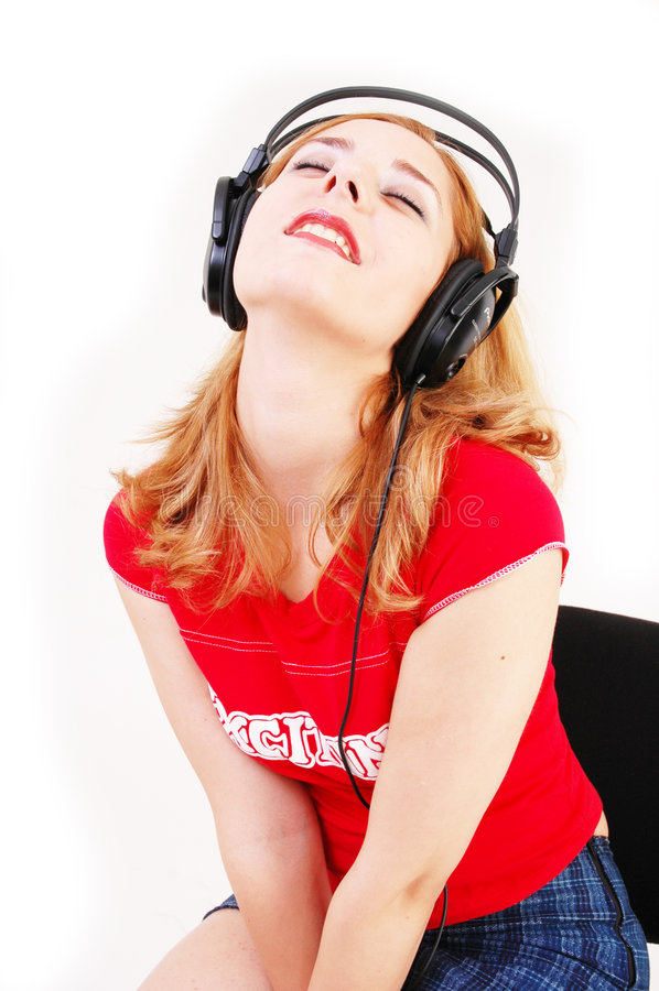 Mädchen mit Kopfhörer stockfoto